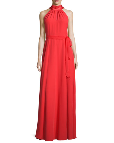 Sleeveless Halter Gown w/Chiffon Belt