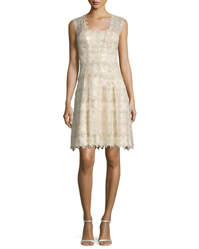 Sleeveless Metallic Lace Cocktail Dress