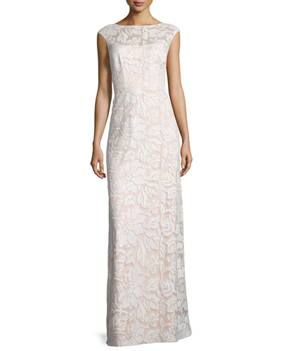 Cap-Sleeve Sequined Lace Column Gown