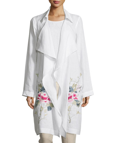 Draped-Front Embroidered Topper Jacket, White/Pink/Tan