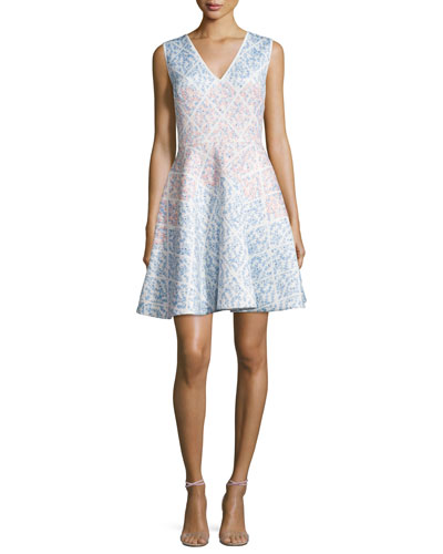 Sleeveless Ombre Fit-&-Flare Dress, Ivory/Multi