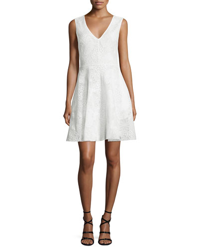 Sleeveless V-Neck Fit-&-Flare Lace Dress, Ivory