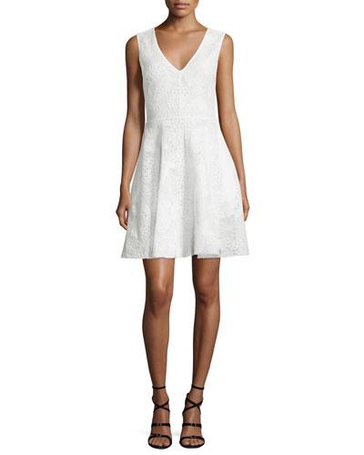 Sleeveless V-Neck Fit-&-Flare Lace Dress, Ivory