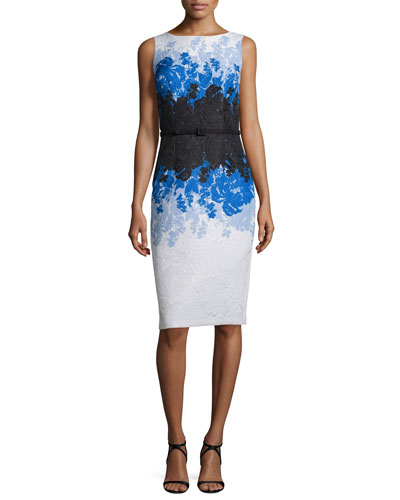 Sleeveless Floral Ombre Sheath Dress