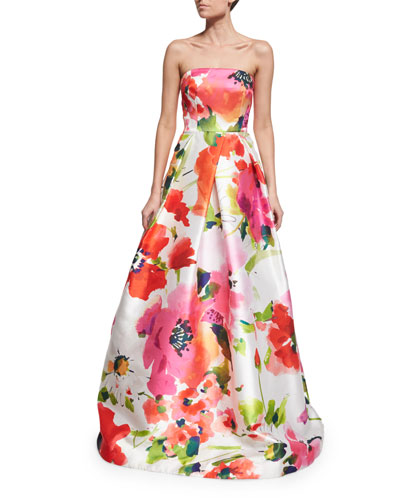 Strapless Floral Satin Ball Gown