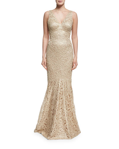 Embroidered Sleeveless V-Neck Mermaid Gown, Gold