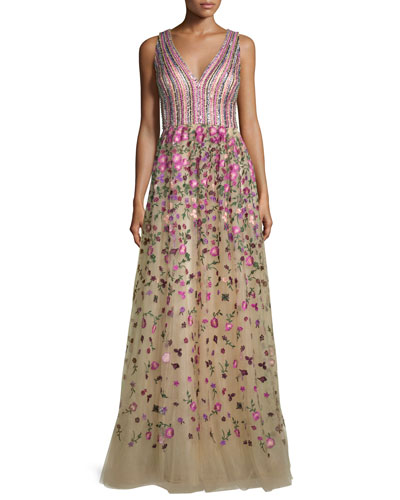 Sleeveless Sequined & Embroidered Ball Gown, Nude/Rose