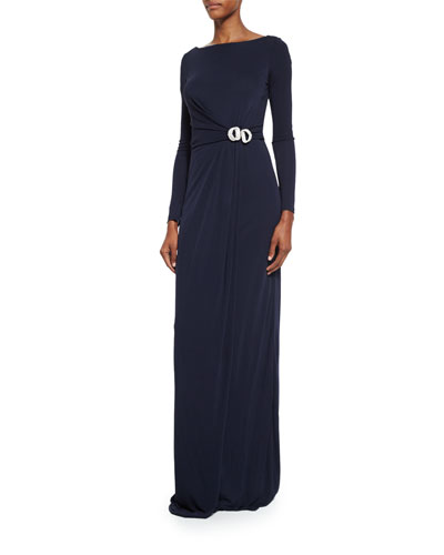 Long-Sleeve Buckled Jersey Gown, Navy