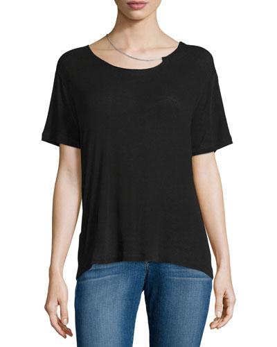 Rikke Short-Sleeve Jersey Top w/ Chain, Black