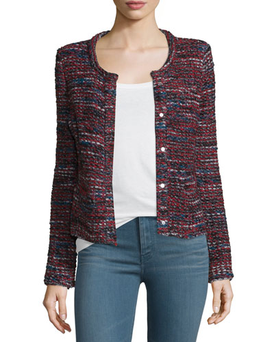 Carene Tweed Wool-Blend Jacket, Red/Black