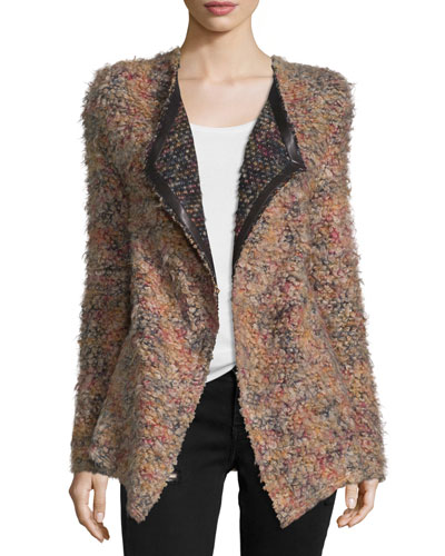 Malvina Open-Front Boucle Jacket, Multicolor