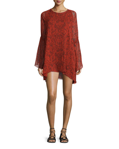 Appoline Long-Sleeve Damask Shift Dress, Red/Dark Navy