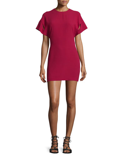 Hilda Short-Sleeve V-Back Mini Sheath Dress, Wine