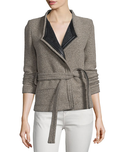 Awa Belted Tweed Jacket, Beige/Black