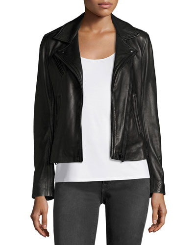 Han Leather Motor Jacket, Black