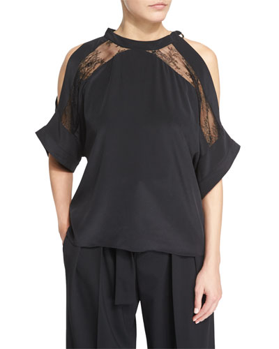Mya Lace-Trim Voile Cold-Shoulder Top, Black