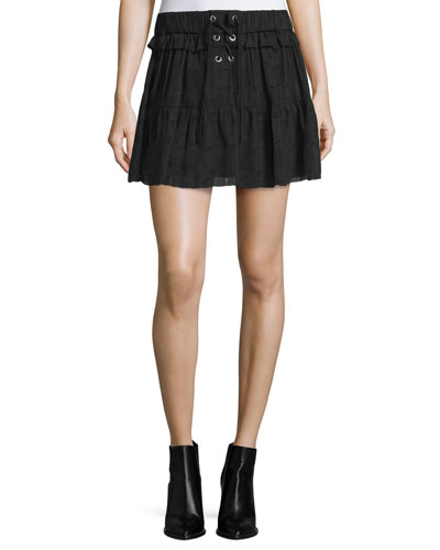 Carmel Tiered Chiffon Skirt, Black