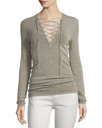 Alida Lace-Front Knit Top, Beige/Black