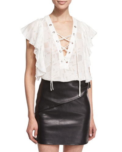 Gilka Printed Lace-Up Top, Ecru
