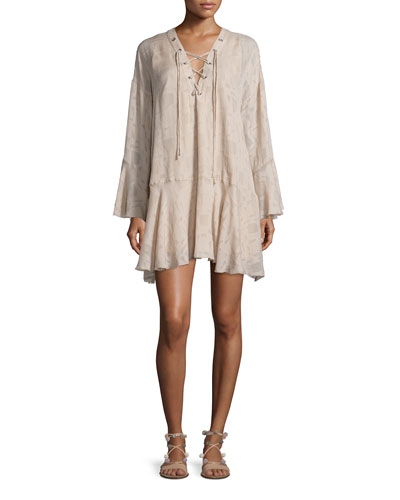 Ralene Printed Chiffon Shift Dress, Nude