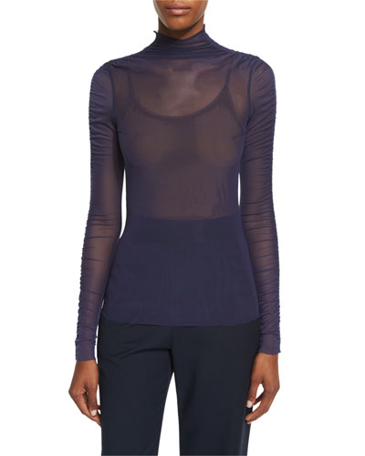 Long-Sleeve Sheer Mesh Top, Ink