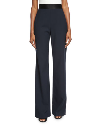Focal Wide-Leg Crepe Pants, Ink