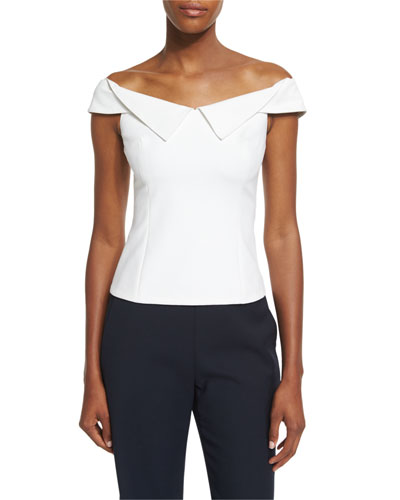 William Off-the-Shoulder Crepe Top, White