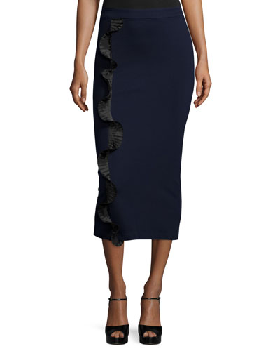Stretch Ruffle-Trim Midi Skirt, Ink