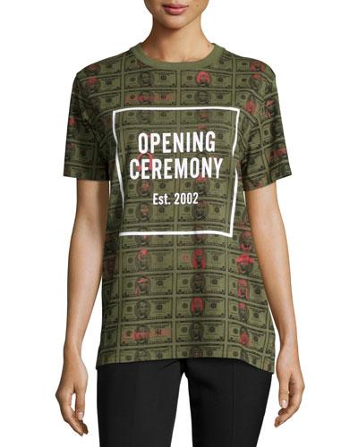 Short-Sleeve Money Jersey Tee, Cash Green