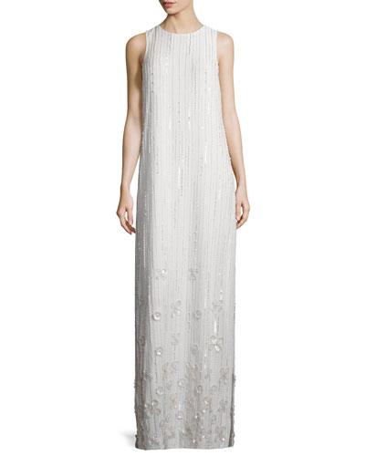 Sleeveless Beaded Column Gown, White