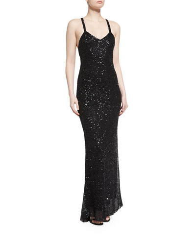 Sequined Sleeveless Column Gown, Black