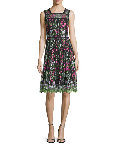 Sleeveless Embroidered Paneled A-Line Dress, Green/Black