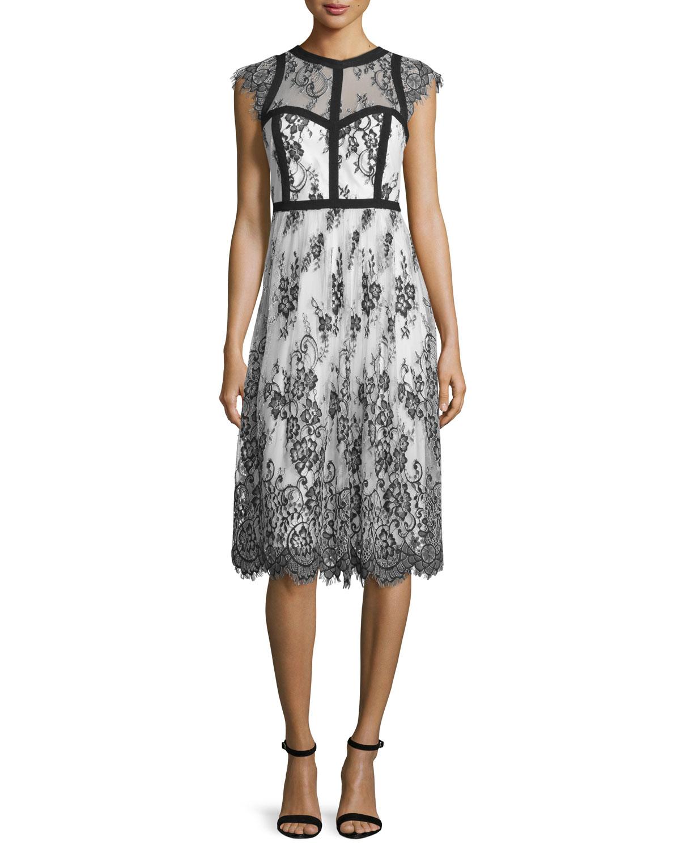 Cap-Sleeve Mixed-Media Cocktail Dress, Black/White