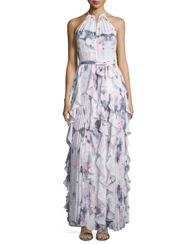 Sleeveless Halter-Neck Ruffle Gown, Lavender Lily