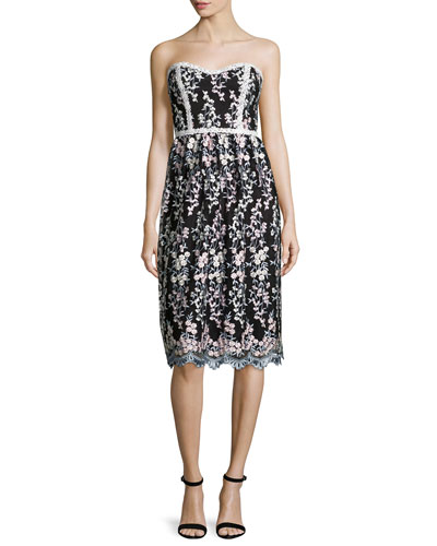 Strapless Floral Embroidered Dress, Gray