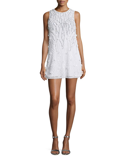 Sleeveless Sequined Cocktail Dress, White