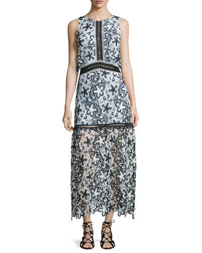 Sleeveless Floral Lace Popover Maxi Dress, Black/White/Light Blue