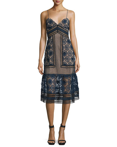 Sleeveless Mixed-Lace Midi Dress, Navy/Black/Nude