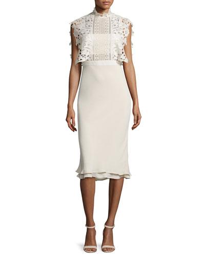 Collared Chiffon & Lace Midi Dress, Cream