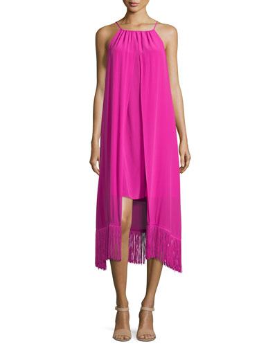Sleeveless Halter-Neck Silk Fringed Dress