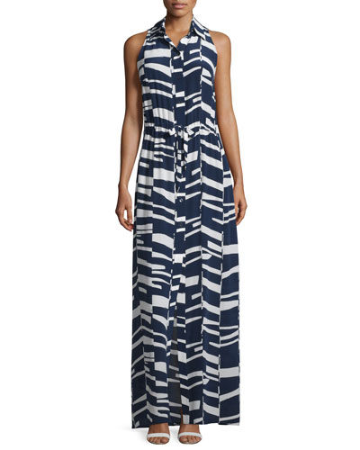 Modern-Print Sleeveless Silk Maxi Shirtdress