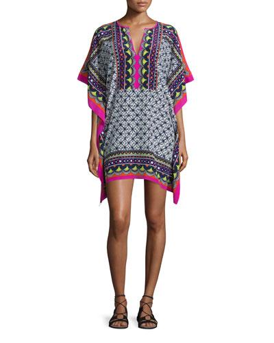 Butterfly-Sleeve Abstract-Print Silk Caftan Dress