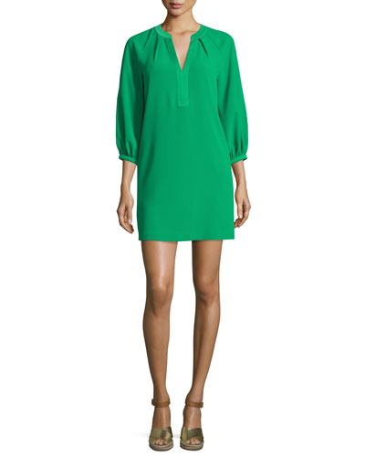 3/4-Sleeve Crepe Shift Dress
