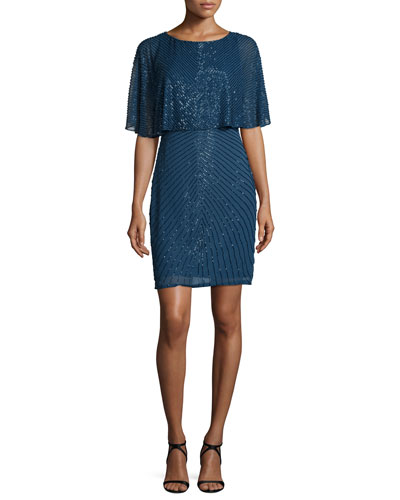 Beaded Popover Cocktail Dress, Steel Blue