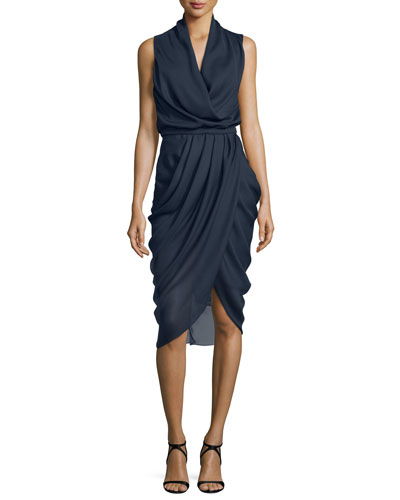 Draped Sleeveless Cocktail Dress, Ink