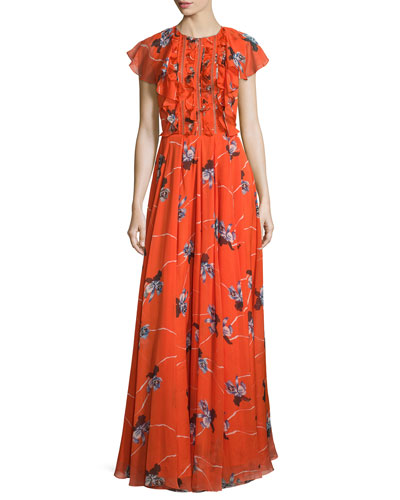 Cap-Sleeve Floral-Print Gown W/Ruffles, Coral