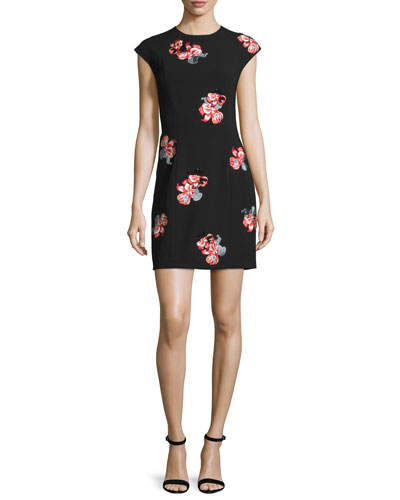 Floral-Embroidered Cap-Sleeve Dress, Jet Black