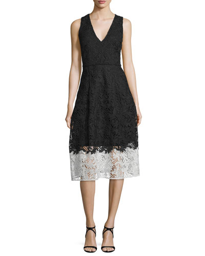 Sleeveless Colorblock Lace Cocktail Dress, Jet Black