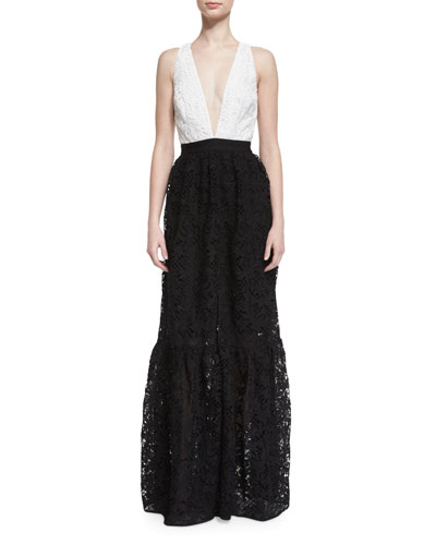 Sleeveless Colorblock Lace Gown, Jet