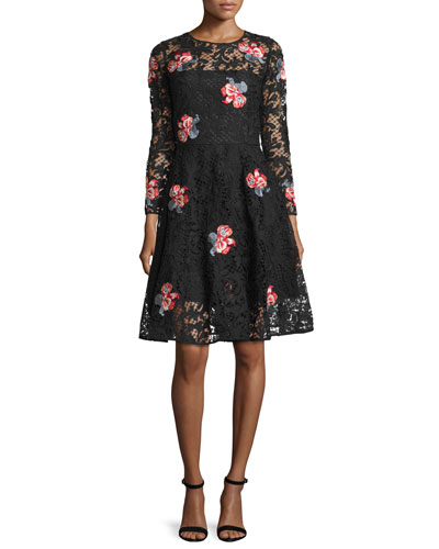 Floral-Embroidered Lace Cocktail Dress, Jet